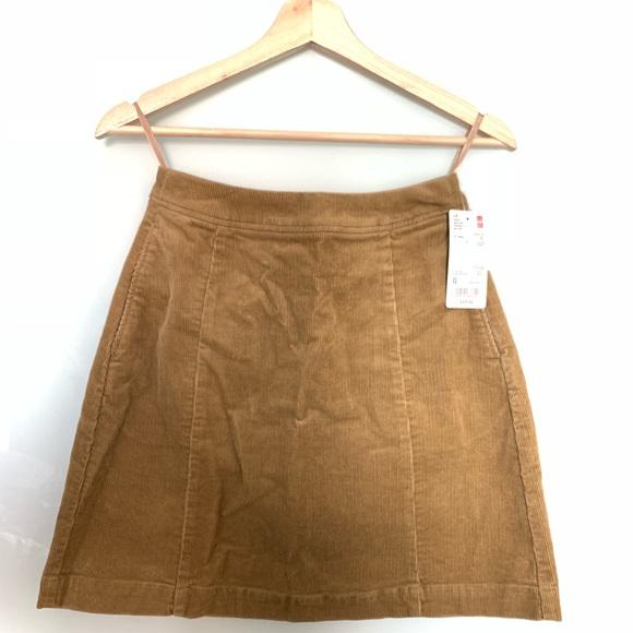 abf12f83e Uniqlo Skirts   High Waist Corduroy Mini Skirt Beige Nwt   Poshmark